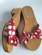 VGC Miu Miu Rockabilly 1950s Polka Dot Red Clogs Sliders Mules Sandals 4 37