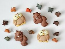 Woodland Critters / Dress It Up Fall Buttons / Owls Squirrels & Leaves