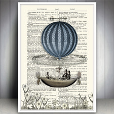 HOT AIR BALLOON BOAT STEAMPUNK ART PRINT DICTIONARY STYLE POSTER WALL PICTURE