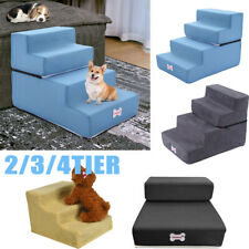 Easy 4 Steps Dog Stairs for High Bed Pet Cat Ramp Ladder with Removable Cover T4