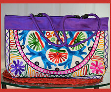 Embroidered cotton silk  tote bag, shoulder hand bag purple mirror work India