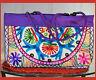 Embroidered cotton silk  tote bag, shoulder hand bag purple mirror work India