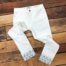Angels Jeans Size 8 Womens Signature Straight Crop Cuffed Embroidered White