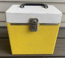 Vtg 45 Record CASE Storage WOOD Yellow White TWO TONE