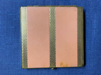 Vintage 1940s Rex Fifth Ave Coral & Gold Art Deco Compact Powder Mirror Vanity