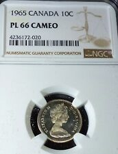 1965 CAMEO CANADA 10 CENTS   NGC PL66 - LOVELY  SILVER COIN