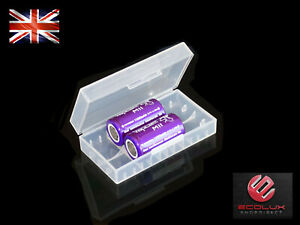 2x 18350 Battery 3.7V Li-Ion M11 1100mAh 10A IMR Flat Genuine Vapcell UK + case