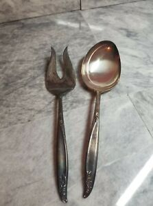 Holmes and Edwards Deep Silver Large Salad Spoon and Salad Fork Set