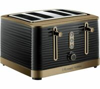 RUSSELL HOBBS Inspire Luxe 24385 4-Slice Toaster- Black & Brass