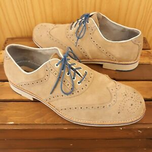 Johnston Murphy Suede Wingtip Oxford Dress Shoes Sheepskin Tan Carmel Men's 12 M