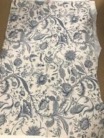 Waverly Screen Print Fabric Remnant - Ivory with Blue Floral  4 YDS Linen