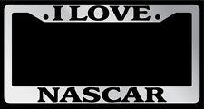 Chrome METAL License Plate Frame I LOVE NASCAR Auto Accessory