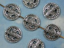 10 Flat Disk Beads Pattern Antiqued Silver Tone Hill Tribes Style 14mm  #P381