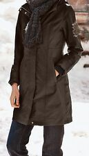 EDDIE BAUER WEATHEREDGE GIRL ON THE GO HOODED TRENCH RAIN COAT JACKET BROWN L