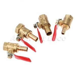 """1pc 1/4"""" 3/8"""" Female to 6-10mm Hose Barb Brass Ball Valve for Piping System"""