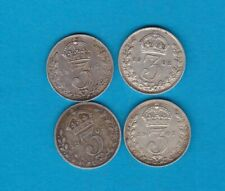 More details for four 1902/1907/1908 &1909 edward vii silver threepence in very fine condition