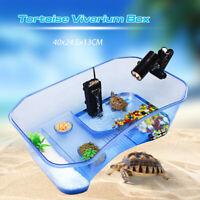 Reptile Turtle Tortoise Vivarium Box Aquarium Tank with Basking Ramp & Tree UK