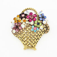 Vintage Crystal Rhinestone Flower Basket Charm Betsey Johnson Brooch Pin Gift