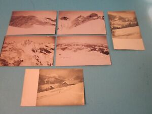 6 Vintage Postcards. Featuring Snow Covered Mountain. B&W. Unused