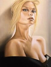 ORIGINAL OIL ON CANVAS PORTRAIT OF A WOMAN, HANDMADE PAINTING BY ITALIAN ARTIST