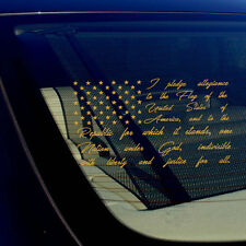 American Flag Pledge of Allegiance Truck Car Window Sticker Gold Vinyl Decal