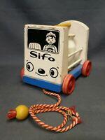 Vintage Sifo Wooden Milk / Dairy Truck Wagon 5 Bottles Pull Along Toy Playskool
