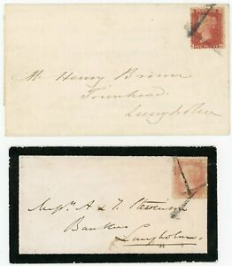 """SCOTLAND 1861+1863 covers Canonbie with 1d red cancelled 2 strikes """"1"""" handstamp"""