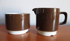 Figgjo Med Korund Brown Creamer Open Sugar Bowl Set Norway Vitro Porcelain 1970s