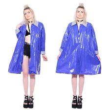 Vtg WET LOOK Shiny Vinyl PVC Rain Jacket Raincoat Glossy Slicker Regenmantel Mac