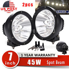2x 7Inch 45W CREE LED Driving Work Light Offroad 4WD Truck SPOT Lamp Replace HID