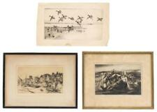 THREE ETCHINGS One depicting a mother and child in a field. Signed lo... Lot 688
