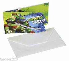 Teenage Mutant Ninja Turtles 6 Invites & envelopes TMNT Birthday Party Supplies
