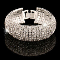Fashion Charm Women Crystal Rhinestone Cuff Bracelet Bangle Jewelry Gift Hot