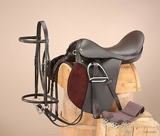 "17 Inch All Purpose Draft Horse English Saddle Pkg Brown - Extra Wide-9"" Gullet"