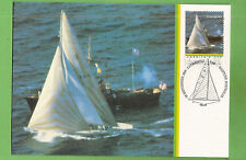 #H. 1983 AMERICA'S CUP  POSTCARD- TRIUMPH AT FINISHING LINE