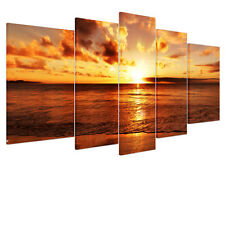 Framed Sea Sunrise Picture HD Canvas Print Wall Art Painting Ready To Hang