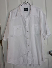 Wrangler Pearl Snap Western Shirt 2XL XXL White Short Sleeve Cotton Blend