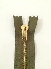 2 Pcs YKK Dark Green Brass Coil Zippers Tailor Sewer Craft 8 inch Thailand