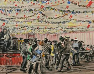 Édouard febvre French Drawing Watercolor Oil Painting Paris 5ème Music Band Prom
