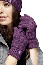 Ladies Cable Knit 2.3 tog Heatweaver thermal Gloves by Heat Holders Purple