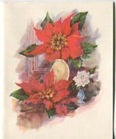 1 VINTAGE CHRISTMAS GLITTER RED POINSETTIA WHITE ROSE GREETING & 1 SANTA CARD