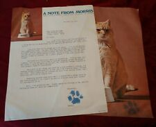 Morris The Cat Signed Photo Note & Coupon 1974 9 Lives Advertising