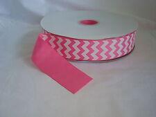 "New listing 100 Yards - 1.5""-1 1/2"" Hot Pink & White Chevron Grosgrain Ribbon-100% Polyester"