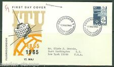 DENMARK  CENTENARY OF THE INT'L TELECOMMUNICATION UNION STAMP FDC