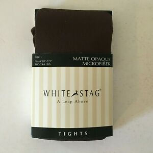 """White Stag Matte Opaque Microfiber Tights - Brown Size 1 4'10"""" - 5'9"""" 100-144 lb"""