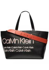 Calvin Klein Tannya Extra-Large Logo Tote Black Red