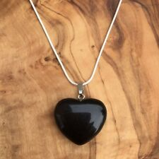 "Black Obsidian Crystal Heart Pendant 25mm with 20"" Silver Necklace Grounding"