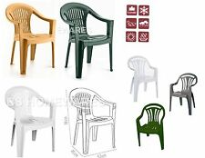Plastic Low Back Chair Patio Garden Outdoor Chairs Stacking Armchair Picnic Seat