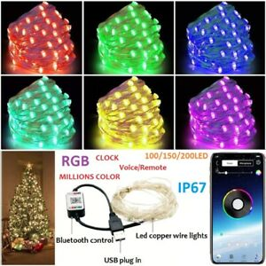 Outdoor 100-200Led Fairy String Twinkle Wire Lights Dimmable Bluetooth RBG Xmas