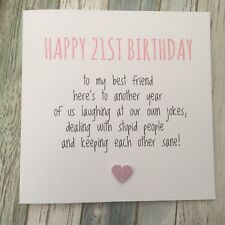 FUNNY BEST FRIEND 21ST BIRTHDAY CARD BESTIE HUMOUR RUDE SARCASM